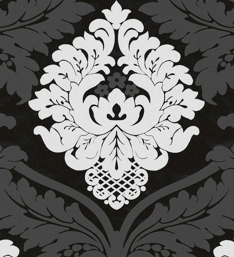 Papel pintado damasco moderno con volutas barrocas fondo negro Senso 454009