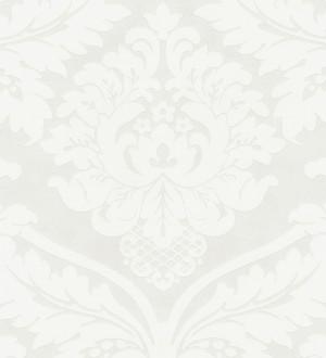 Papel pintado damasco moderno con volutas fondo blanco roto Senso 454010