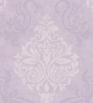 Papel pintado damasco moderno grande fondo gris claro liláceo Glamis 454285