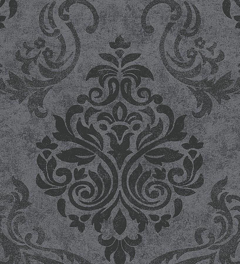 Papel pintado damasco moderno grande negro fondo gris oscuro Glamis 454286