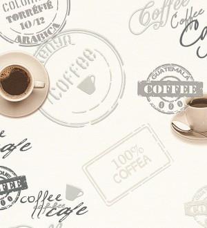 Papel pintado tazas y platos de café fondo blanco Dustin 454973