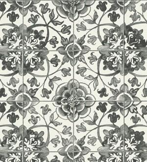 Papel pintado azulejos tradicionales negro fondo blanco Berkan 454984
