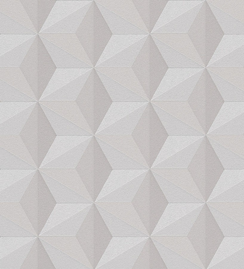 Papel pintado cubos 3D geométricos visón Fraser 455224