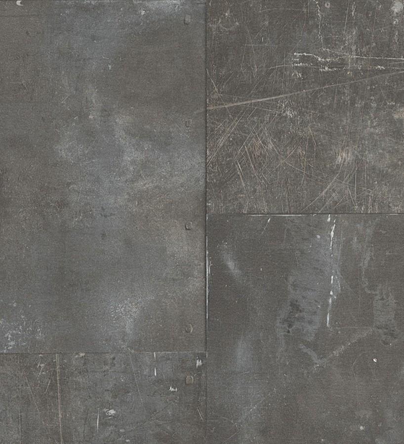Papel pintado efecto óxido gris oscuro Kitión 455444