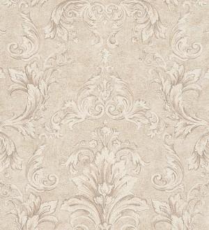 Papel pintado damasco Shabby Chic clásico marrón grisáceo claro Eraldo 455812