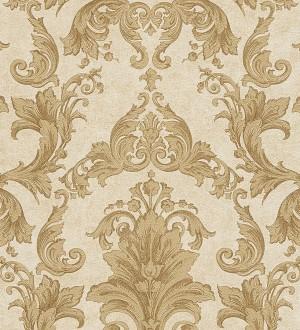 Papel pintado damasco Shabby Chic clásico marrón tostado Eraldo 455815