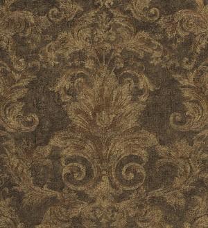 Papel pintado damasco floral clásico oro metalizado Sacchetti 455816