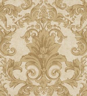 Papel pintado damasco floral clásico marrón tostado Sacchetti 455820