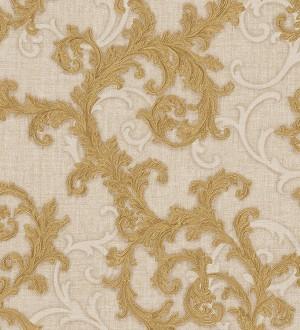 Papel pintado volutas de acanto italianas oro metalizado Giorno 455839