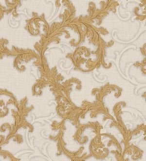 Papel pintado volutas de acanto italianas oro metalizado Giorno 455840
