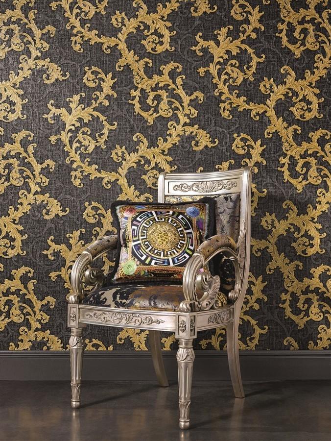 Papel pintado volutas de acanto italianas oro metalizado Giorno 455842