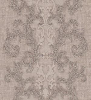Papel pintado volutas clásicas verticales beige pálido Palermo 455843