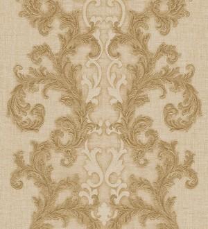 Papel pintado volutas clásicas verticales ocre claro Palermo 455844