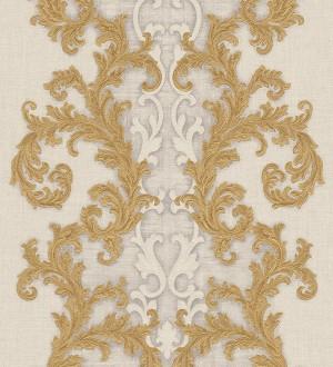 Papel pintado volutas clásicas verticales oro metalizado Palermo 455846