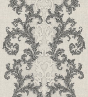 Papel pintado volutas clásicas verticales gris oscuro Palermo 455847