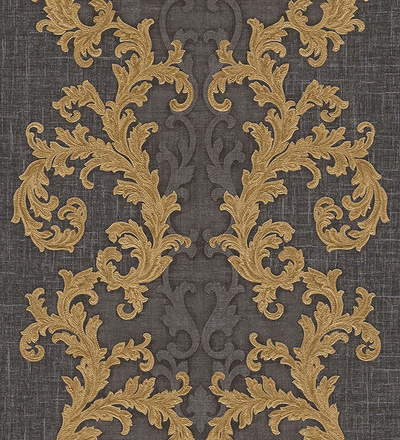 Papel pintado volutas clásicas verticales oro metalizado Palermo 455848