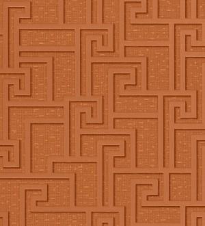 Papel pintado mosaico romano geométrico cobre oscuro metalizado Alessandria 455857