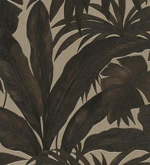 Papel pintado palmeras tropicales marrón oscuro Vanila 455868