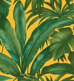 Papel pintado palmeras tropicales verde y amarillo tropical Vanila 455870