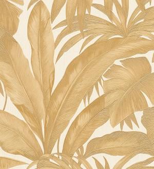 Papel pintado palmeras tropicales beige oscuro fondo veige Vanila 455871