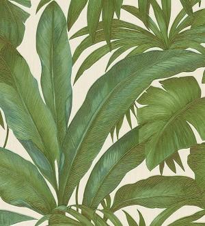 Papel pintado palmeras tropicales verdes fondo blanco Vanila 455872