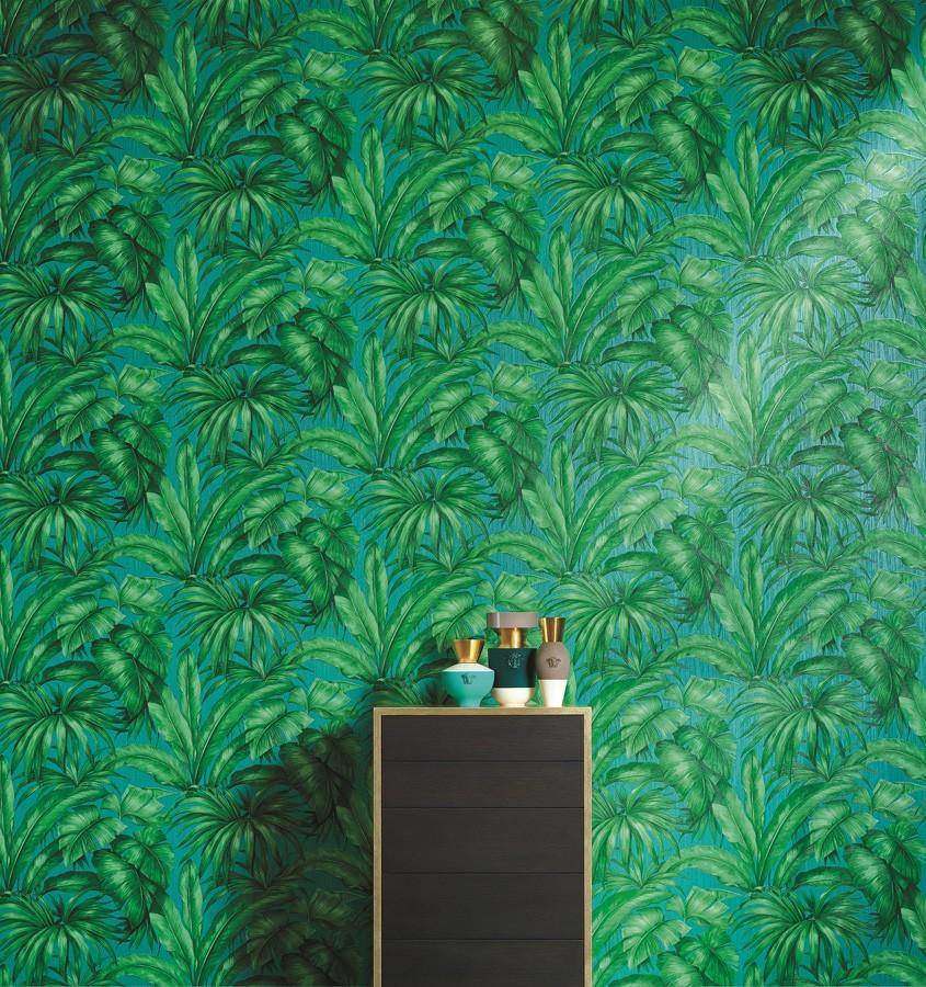 Papel pintado palmeras tropicales turquesa y verde Vanila 455873