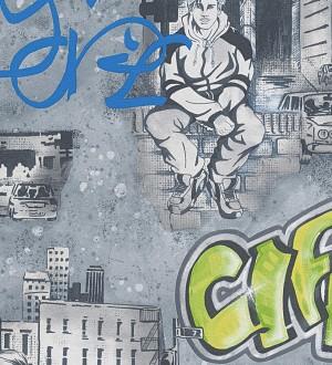 Papel pintado mobiliario urbano y graffiti verde pistacho Kilroy 455941