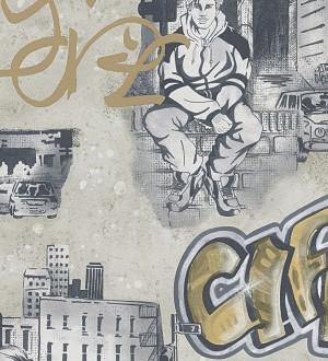 Papel pintado mobiliario urbano y graffiti juvenil ocre claro Kilroy 455942