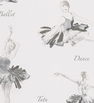 Papel pintado juvenil bailarinas románticas gris Le Tutu 455948