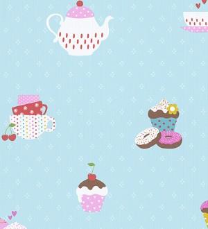 Papel pintado cafeteras y cupcakes infantiles y coquetos Tea Time 455949