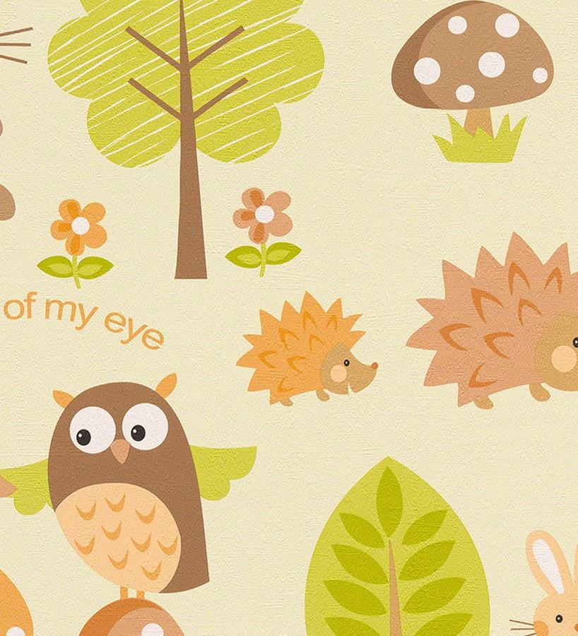 Papel pintado búhos y erizos infantiles en el bosque Asleep Owls 455982
