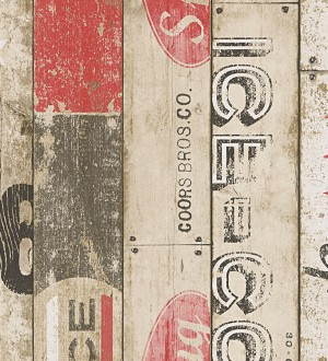 Papel pintado listones de madera juvenil estilo pop art Cavallet 455995