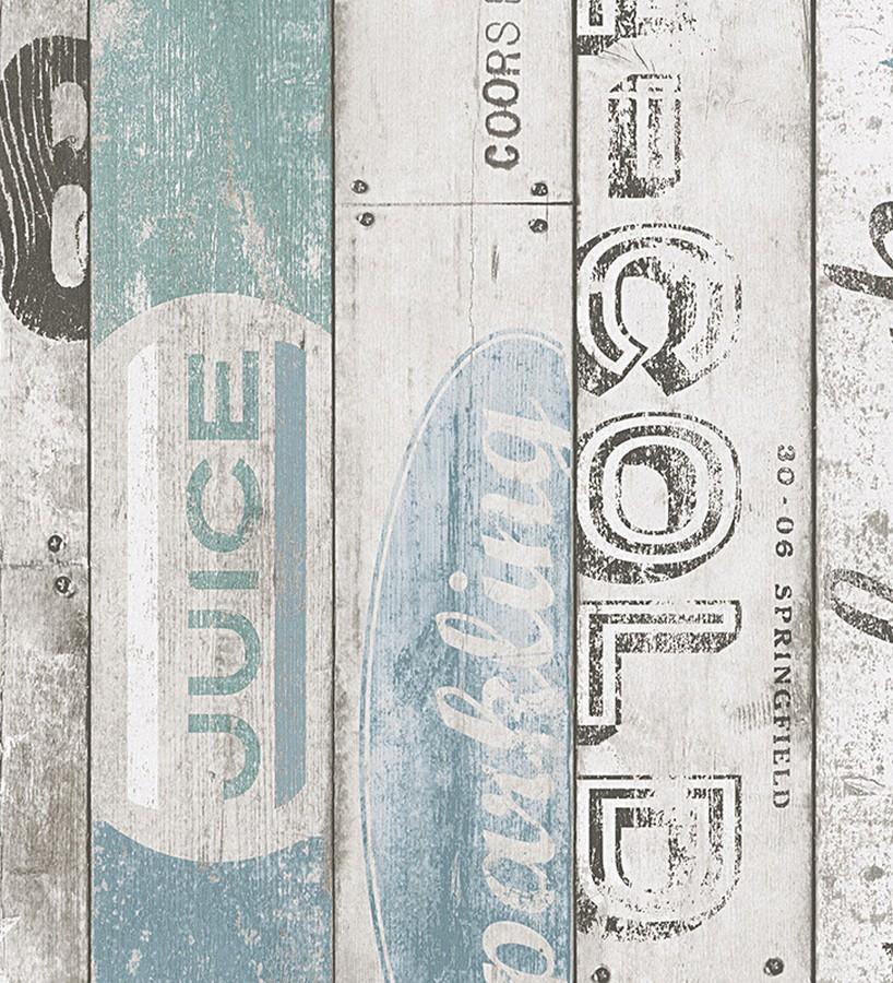 Papel pintado madera Shabby Chic con letras fondo blanco Cavallet 455996