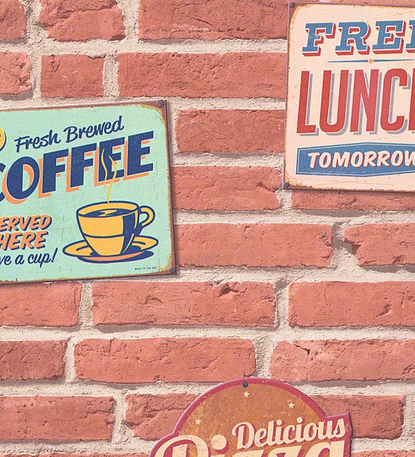 Papel pintado carteles sobre muro de ladrillo Detroit Coffee 456021