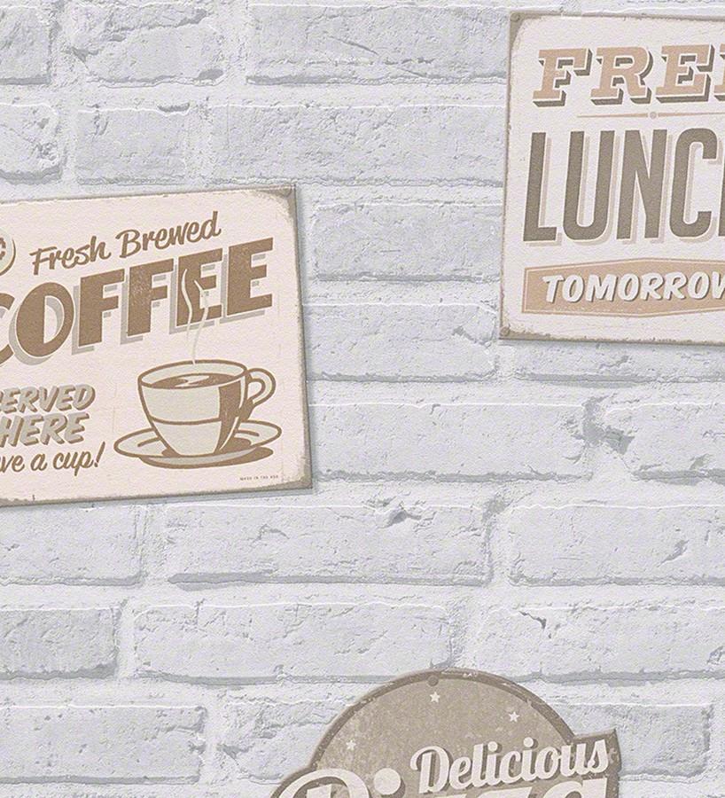 Papel pintado carteles sobre muro de ladrillo Detroit Coffee 456022