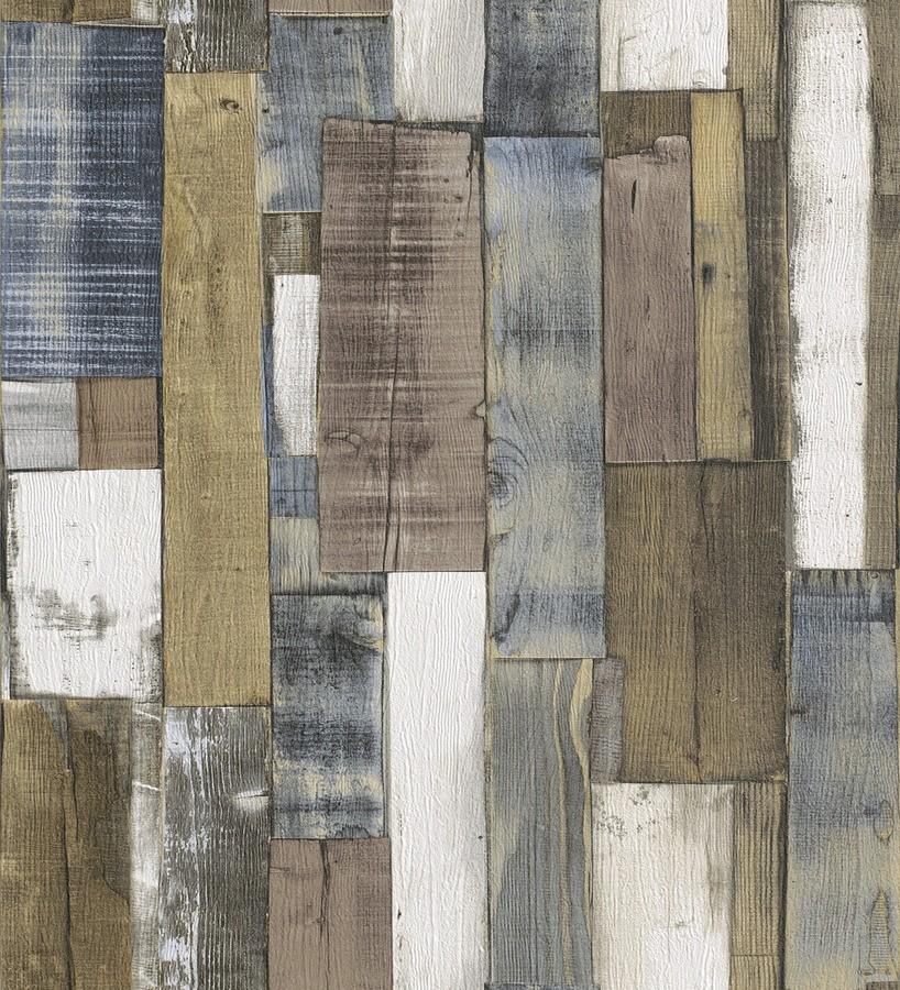 Papel pintado listones de madera de color estilo nórdico Suances 6218