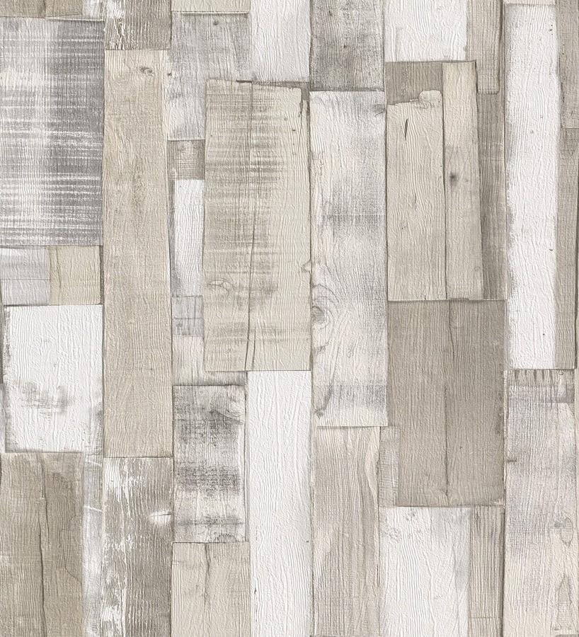 Papel pintado listones de madera clara estilo nórdico Suances 6219