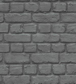 Papel pintado imitación ladrillo industrial negro Dayton 6225