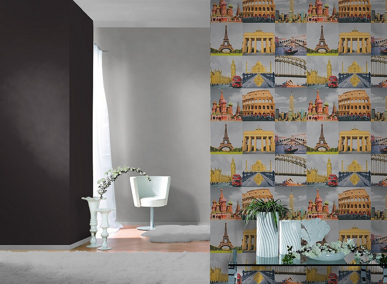 Papel pintado collage de ciudades a color All Around 3 6245