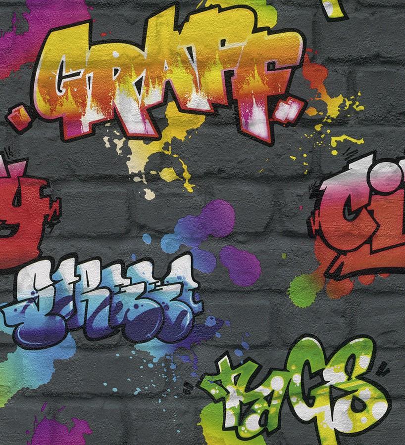 Papel pintado muro de graffiti estilo urbano multicolor Urban Graffiti 6247