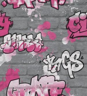 Papel pintado muro de graffiti estilo urbano rosa intenso Urban Graffiti 6248