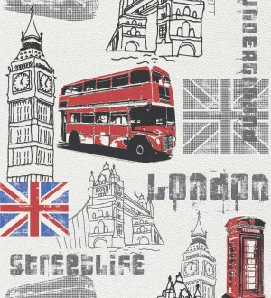 Papel pintado motivos de Londres blanco y negro London 4 6285