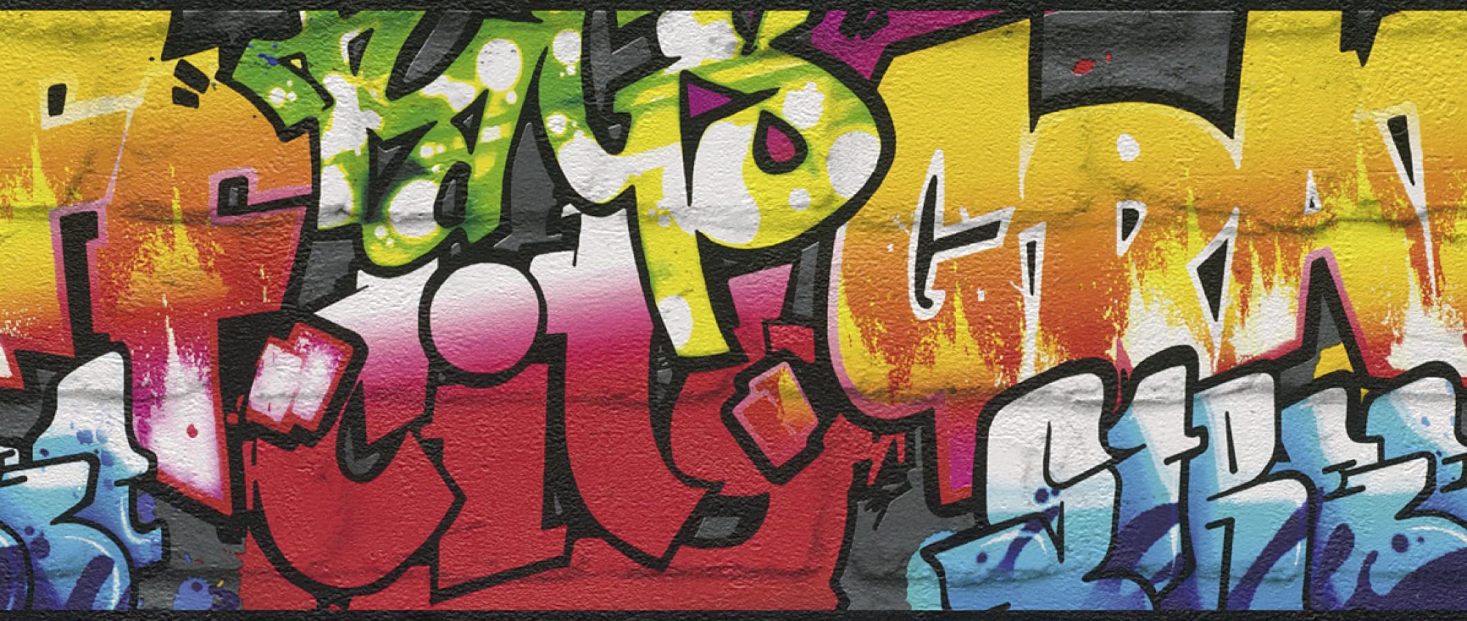 Cenefa muro de graffiti estilo urbano multicolor Urban Graffiti 6296