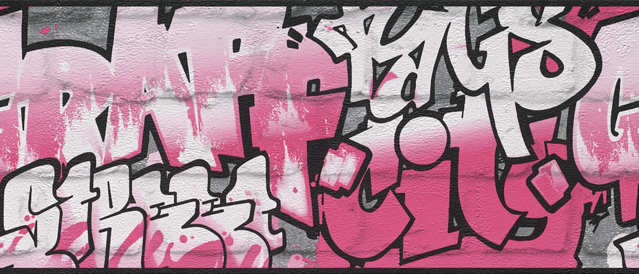 Cenefa muro de graffiti estilo urbano rosa intenso Urban Graffiti 6297