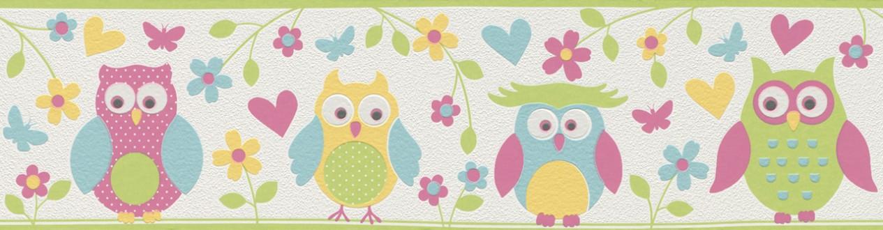 Cenefa búhos y flores infantiles multicolor Sweet Owls 6298