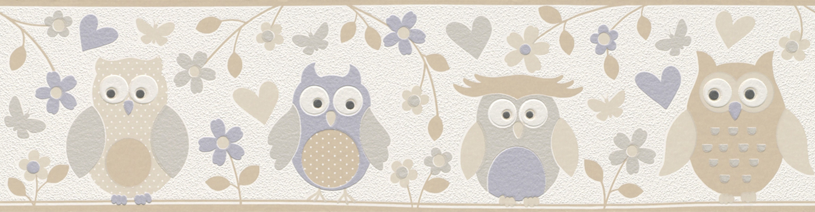 Cenefa búhos y flores infantiles beige oscuro Sweet Owls 6299