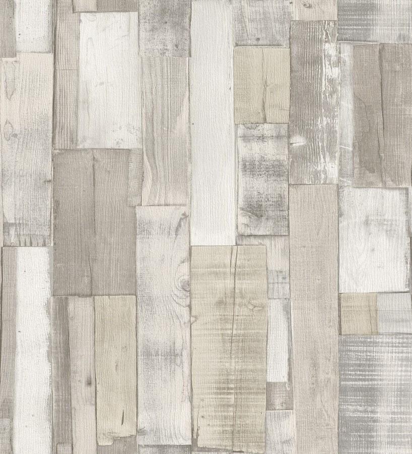 Papel pintado tablas de madera clara y blanca estilo nórdico Portimao 6888