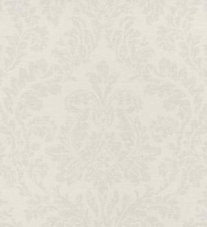 Papel pintado damasco efecto textil beige claro fondo blanco roto Normanni 6982