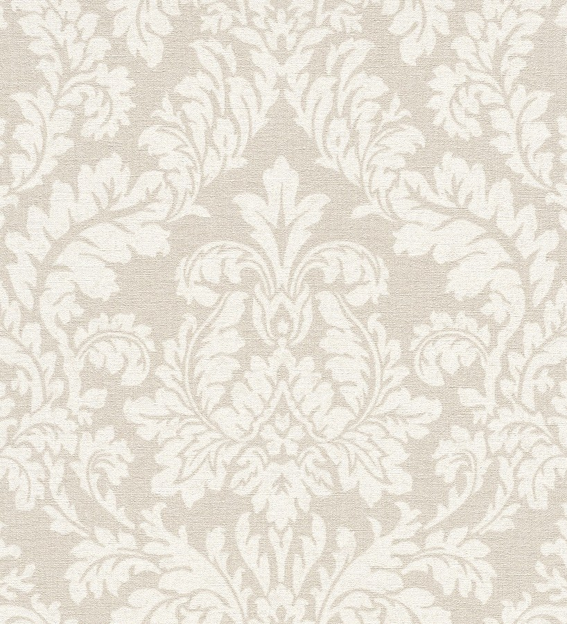 Papel pintado damasco efecto textil blanco perla fondo beige pálido Normanni 6984
