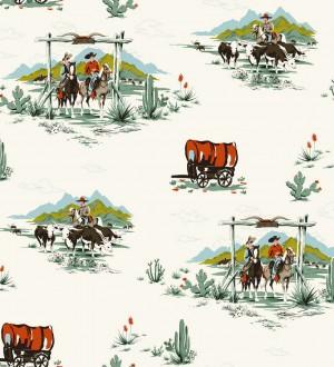 Papel pintado campamento vaquero y cowboys infantiles The Western 7323